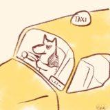 タクシー運転手をしているハスキー