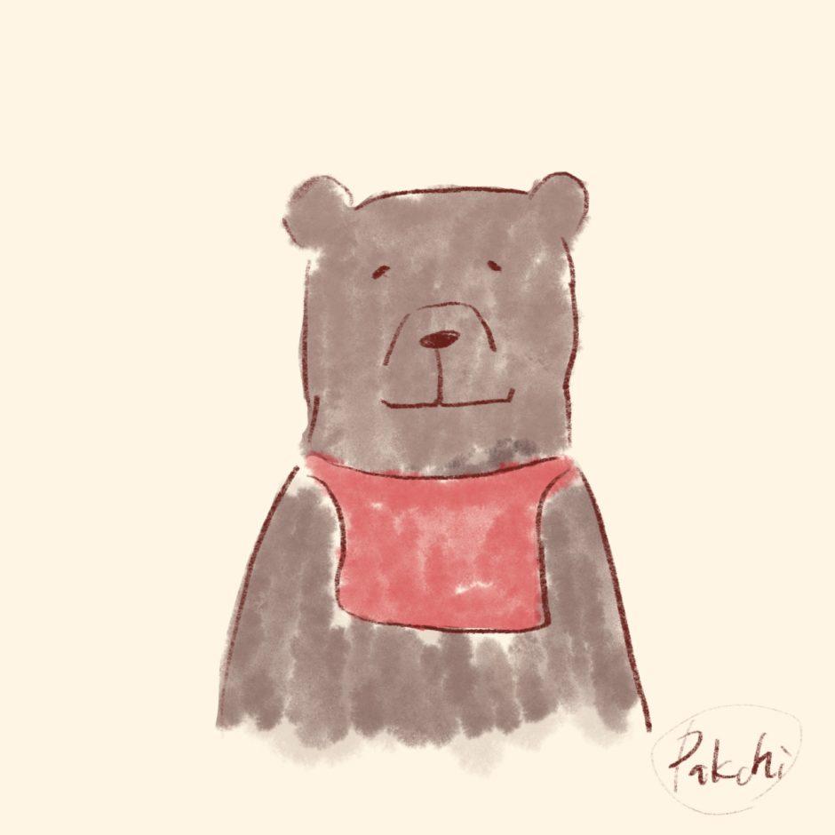 手ぬぐいをまいたクマ